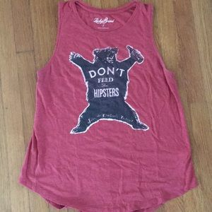 """Lucky brand """"don't feed the hipsters"""" tank"""